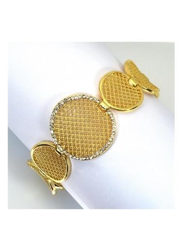 Enesstore Halka Model Bayan Bileklik Altın Kaplama Sarı